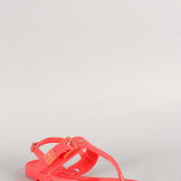 Bamboo Jelly Buckle T-Strap Slingback Flat Sandal