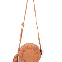 Weave Barrel Tassel Detail PU Satchel Bag