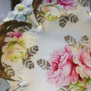 "RS Prussia Cake Plate Antique Porcelain Art Nouveau 1900s Victorian China Germany  9 1/2"" Heavy Gold Pink  Yellow Roses German Centerpiece"
