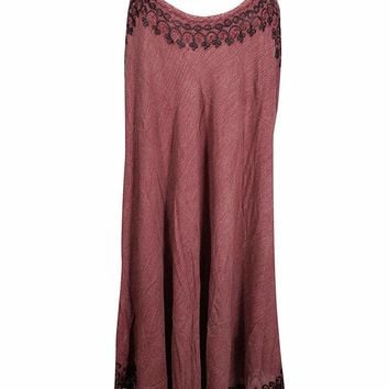 Mogul Interior Esme Women Sundress Embroidered Scoop Neck Spaghetti Strap Sexy Beach Cover up OneSize
