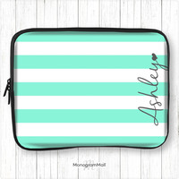 Personalized laptop sleeve, macbook, macbook pro, macbook air, universal, 10, 11, 13, 15, monogram, laptop case, stripes, aqua, turquoise
