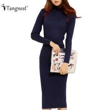 TANGNEST Fashion  Women Autumn Winter Sweater Dresses Slim Turtleneck Sexy Bodycon Solid Color Robe LongKnitted Dress WZQ128