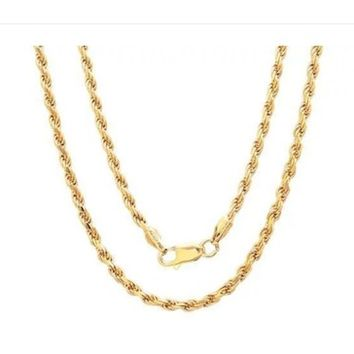 ** 14k Yellow Gold Filled Rope Chain Necklace