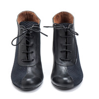 Black Leather High Heels Shoes / Women Booties / Lacing Shoes / Urban Shoes / Designers Shoes / Office Wear / Elegant Shoes - Calvin