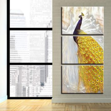 Canvas Paintings Living Room Framework Wall Art 3 Piece Peacock Couple Pictures HD Prints Golden Tail Peafowl Poster Home Decor