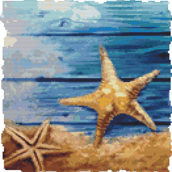 Starfish Pair Cross Stitch Pattern Instant Download PDF Modern Design  2015 Beautiful Beach Sea Water Design 60 DMC Colors Easy to Stitch