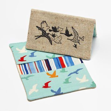 Business Card Case, Credit Card Holder, Fabric Gift Card Wallet in Soaring Seagulls