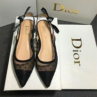 """""""Dior"""" Temperament Fashion Polka Dots Perspective Gauze Pointed-toe Letter Singleback Shoes Women Shallow Mouth Low Heels Shoes"""