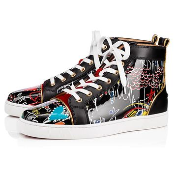 Christian Louboutin Cl Louis Mens Flat Version Black Patent 18s Sneakers