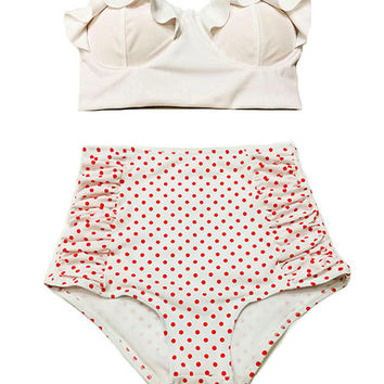 White Midkini Top and White Red Mini Polka dot Ruched High Waist Waisted Rise Vintage Retro Bottom Swimsuit Swimwear Bikini Bathing suit M L