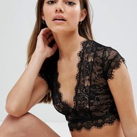 ASOS DESIGN Petite Eyelash Lace Crop Bralette at asos.com