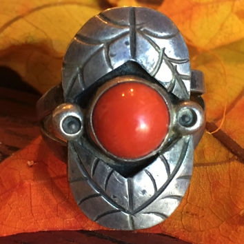 1 Navajo Red Coral Ring Sterling Silver Boho Hippie