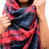 Red Multi Blanket Scarf
