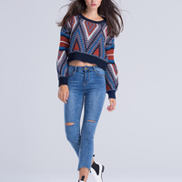 Multicolor Chevron Pattern Chunky Knit Jumper