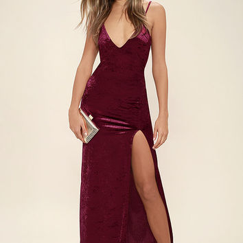 Nobody But You Burgundy Velvet Maxi Dress