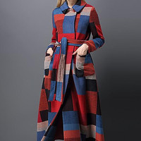 Fashion Runway 2016 women autumn winter fashion British style slim extra long plaid print belted military work wool coat 8783