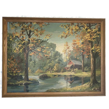 Vintage Very Large Paint by Number Autumn Country Scene Landscape with a Wood Frame PBN Home Decor Red Barn Stream Trees Wall Art
