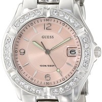 "GUESS Women's G75791M ""Dazzling Sporty"" Mid-Size Silver-Tone Watch"