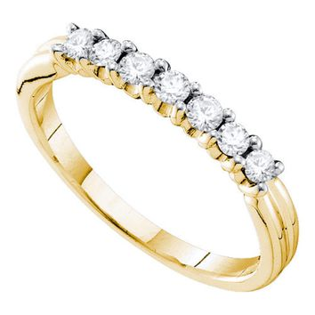 14kt Yellow Gold Womens Round Pave-set Diamond Single Row Wedding Band 1/3 Cttw