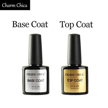 CHARM CHICA Primer Base Coat No Wipe Top Coat UV Gel Nail Polish Professional Nail Gel Transparent Color Lacquer Varnish