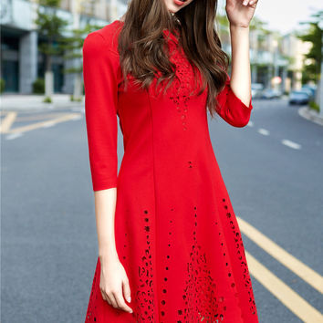 Red Floral Cut-Out Dress