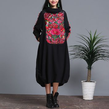 Autumn Dress Woman Cotton Casual High Robe Femme Nation Wind Embroidered Dress Vestido De Festa Vintage Long Sleeve Loose Dress