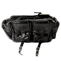 Vintage 1980s Black Leather Travel Bag