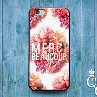 iPhone 4 4s 5 5s 5c 6 6s plus iPod Touch 4th 5th 6th Generation Cute French Word Quote Pink Floral Flower France Thank You Phone Cover Case