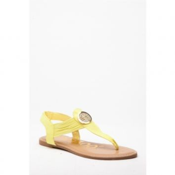 Yellow Faux Suede Embellished Thong Sandals @ Cicihot Sandals Shoes online store sale:Sandals,Thong Sandals,Women's Sandals,Dress Sandals,Summer Shoes,Spring Shoes,Wooden Sandal,Ladies Sandals,Girls Sandals,Evening Dress Shoes