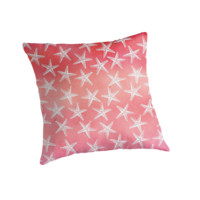 'Tropical Starfish Watercolor Wash Pink Orange Guava Red' Throw Pillow by Stephanie Denne