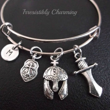 Vikings theme......Helmet, shield and sword Stainless Steel Expandable Bangle, monogram personalized item No.222