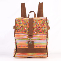 Square Backpack Floral Summer Day pack, Casual bag, Bike bag Vintage Hmong Hand Stitched