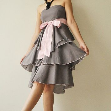 Waft  Gray  Pink Cocktail Dress 2 Sizes by aftershowershop on Etsy