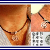 Men/unisex Set personalized, NECKLACE and BRACELET black Leather, Silver LOTUS pendant, bohemian mala necklace, gift for him,gift for couple