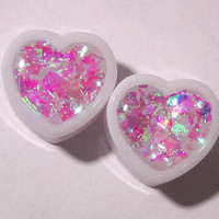 Diamond Heart Iridescent Heart plugs embedded resin by GlitzGauge