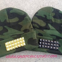 ON SALE- Studded Beanie Hat Camo Print Gold Or Silver or Black Studs