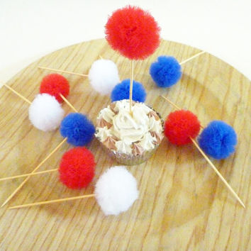 Red, White, and Blue Tulle Party Pom Pom Cupcake Topper Picks Cupcake Decoration for Fourth of July, Office Parties, Birthdays, BBQ