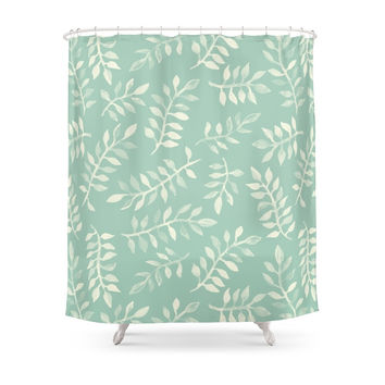 Society6 Painted Leaves - A Pattern In Cream On Soft Mint Green Shower Curtains