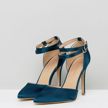 New Look Wide Fit Petrol Blue Satin Two Part Heeled Shoe at asos.com
