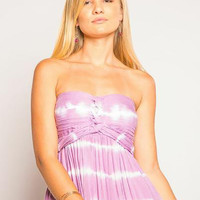 TIARE HAWAII Jasmine Short Dress - Violet/White Tie Dye