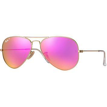 Ray Ban Aviator Sunglass Pink Mirrored Polarized RB 3025 112/1Q