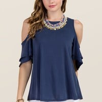 Dee Cold Shoulder Ruffle Sleeve Cupro Top