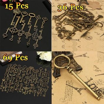 15/36/69pcs Assorted Old Styles Zinc Alloy Antique Skeleton Vintage Retro Keys Charms Necklace Jewelry Pendant Handmade DIY