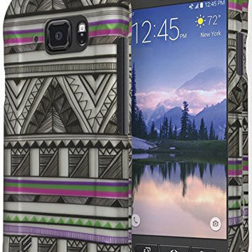 Galaxy S6 Active Phone Case,  Black White Antique Aztec Tribal Design Case