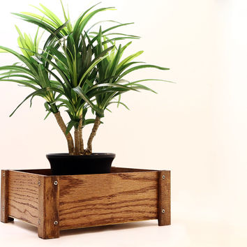 Small Wood Plant Stand and Sundries Box