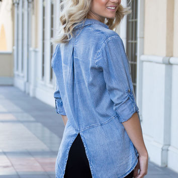 Madeline Textured Stripe Denim Top