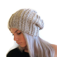 Chunky Slouchy Beanie Womens Hat Mens Hat Hand Knit Hat Unisex hat