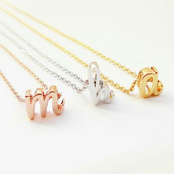 Cursive Letter Charm Necklace