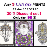 Sell Any 3 CANVAS Prints, Christmas art gift, Kids Room Decor, 3 Piece Nursery wall art decor, Spiritual Ethnic Art, Hamsa Hand Mandala Art