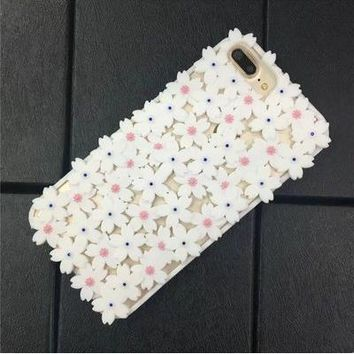 Hollow flower flashing apple 6s mobile phone shell soft 7plus silicone case iphone6 simple female lanyard full shell